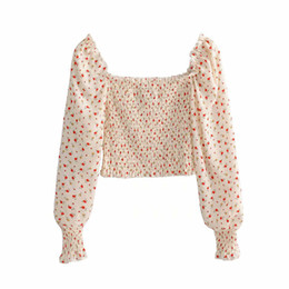 Square Shirt women online shopping - Women sweet slim crop tops Flower print long sleeve square collar backless chic shirt stretchy short blouse