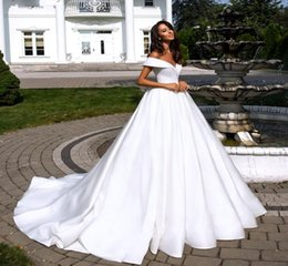 $enCountryForm.capitalKeyWord UK - Off Shoulder Pure White Satin A Line Wedding Dresses 2020 Elegant V Neckline Court Train Plus Size Custom Made Garden Country Bridal Gowns