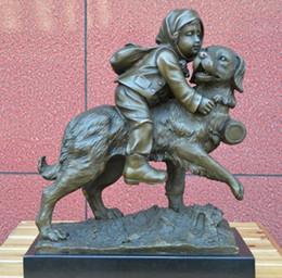$enCountryForm.capitalKeyWord Australia - statue crafts The girl riding dog bronze ornaments animal figures play art jewelry child birthday gifts housewarming Club decoration