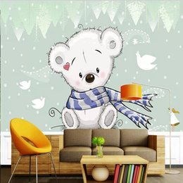 wallpaper cartoons Australia - Custom large mural 3D wallpaper Nordic cartoon fashion creative baby bear bedroom mural TV back wall decor deep 5D embossed