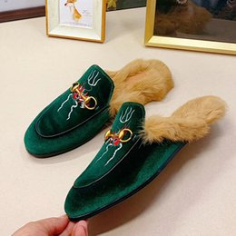 Rabbit fuR heels online shopping - Men s and women s warm plus velvet no heel muller shoes autumn and winter new leather letters embroidered Baotou rabbit fur slippers