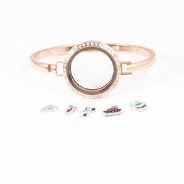 Discount floating charm gold - Fashion 7 8 Inches Round Locket Bangles Screw 316L Stainless Steel Rose Gold 25 30mm Floating Charms Lockets Bracelets f