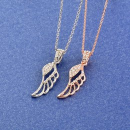 white gold angel wings necklace Australia - Charm Hollow Angel Wings Pendant Necklace Women Rose Gold Silver Color Custom Necklace With Shinning Crystal XL539 SSH
