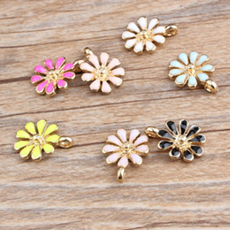 Free Shipping Enamel Charms Australia - 120pcs lot colorful enamel daisy flower charms pendant 12*15mm good for DIY craft, jewelry making free shipping