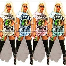 vintage hole shirt Australia - Women's Bob Marley Letter Long T shirt Dress Irregular Cut-off Holes T-shirt Summer Printed Short Sleeve Skirt hip-hop Rock streetwear C5901