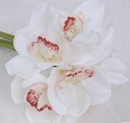 wedding table orchids NZ - 6 Heads Real Touch Cymbidium Artificial Orchid Shoot Table Decoration Flower DIY Wedding Bride Hand Flowers Home Decor Floral WY040
