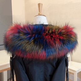 faux fur scarf hood Australia - New faux raccoon fur Collar scarf winter clothes hood fur decor shawl multicolor fake scarf winter men coat collar