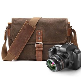 russian bags 2019 - Retro Oil Wax Canvas Leather Unisex Shoulder Bags Shockproof DSLR Camera Bag Waterproof Male Cross Body Bags Russian dis