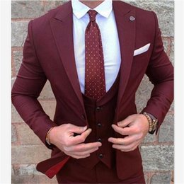 grey red wine suits NZ - Mens Suits (Jacket+Pants+vest) Wine Red Burgundy Men Slim Fit Street Smart Business Prom Blazer Wedding Costume Homme Mariage
