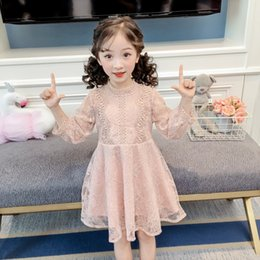 full lace tutu Canada - Girls Spring Summer Lace Dress Girls Princess Dress Kids Clothes Girl Tutu Dress Wedding Long Sleeve Girls Lace Dresses