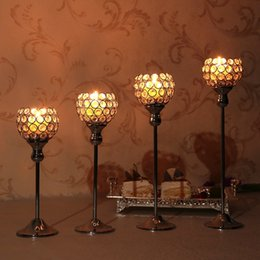 $enCountryForm.capitalKeyWord UK - Crystal Candle Holders Metal Glass Candlesticks Wedding Table Stand Centerpieces Coffee Bar Home Holiday Decoration Housewarming Gifts