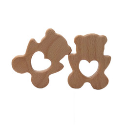 latex toys UK - 4pcs Baby Teether Beech Wooden Polar bear Teether Baby Teething Toy Teething Accessories Kids Teething Pendant Nursing Holder