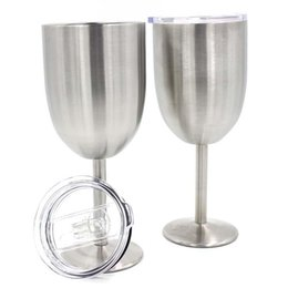 double glasses layers Australia - Stainless Steel Goblets Wine Cup Beer Coffee Wine Glass Double Layer 10OZ Wine With Lid Glasses DDA54
