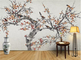 chinese hand paintings Australia - 3d wallpaper custom photo mural New Chinese style hand-painted flowers and birds mural background decorative plum wallpaper for walls 3 d