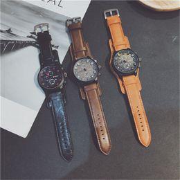 $enCountryForm.capitalKeyWord Australia - Round Large Dial Glass Leather Strap Men's Watches Luxury Style Business Fashion Brand Quartz Analog Wholesale Cheap Watch Mens Wristwatches