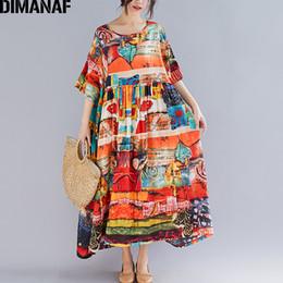 1e70c86583 Dimanaf Plus Size Women Print Dress Summer Sundress Cotton Female Lady  Vestidos Loose Casual Holiday Maxi Dress Big Size 5xl 6xl Y19041801