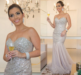 $enCountryForm.capitalKeyWord Australia - 2019 Champagne Glitter Mermaid Pageant Prom Dresses Sweetheart Tulle Crystal Rhinestones Sequins Beaded Long Evening Formal Gown Dress