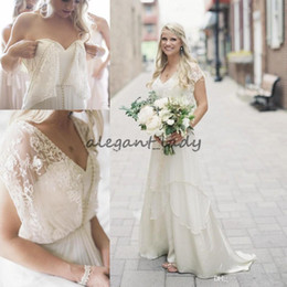 garden wedding dresses wrap NZ - Lace Wrap Bohemian Country Wedding Dresses with Cap Sleeve Vintage Beaded Tiered Skirt Garden Long Boho Wedding Gowns