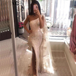 Petite dinner dresses online shopping - Blush Pink Lace Mermaid Evening Dress with Slit Cape One Shoulder Long Prom Dresses Women Formal Dinner Party Gowns