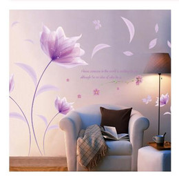PurPle wallPaPer walls online shopping - Romantic Purple flowers Wall Sticker love living room bedroom for Home Decor Art Decals background stickers Wallpaper decoration