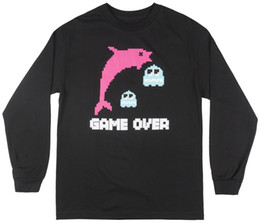 3xl Purple Pink Dolphin Shirt Australia - Pink Dolphin Game Over Long Sleeve T-Shirt Streetwear Tee Top Fashion Mens Black Funny free shipping Unisex Casual gift