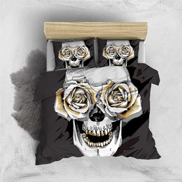 rose white cover Australia - Creative Bedding Set Skull Rose 3D Dark Grey Duvet Cover King Queen Single Double Full Twin Comfortable Bed Set With Pillowcase
