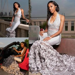 $enCountryForm.capitalKeyWord Australia - Modern Africa Black Girls Mermaid Prom Dresses New 2019 Sexy Halter Neck beads Sequins Rose Floral Skirt Evening Gown Special Occasion Dress