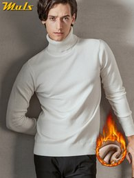 Male White Sweater NZ - Brand MuLS Turtleneck Sweater Men Pullovers Spring Winter Thick High-Neck Male Sweater Jumpers Cotton Fleece Man knitwear Autumn