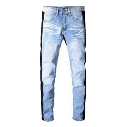 Mens Long Cotton Trousers Australia - Light blue mens fashion jeans striped designer pants casual cotton mens jeans trousers blue man pants 2019 denim pants jeans pour homme