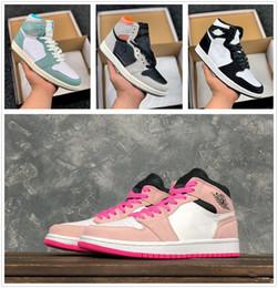 2019 1 Crimson Tint OG 1 Mid sapato Hiper Rosa Branco Das Mulheres Dos Homens Tênis De Basquete 555088-081 1 Couture Defiant Sneakers Sports 5-12 venda por atacado