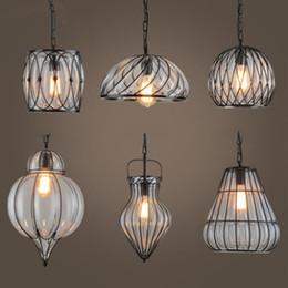 $enCountryForm.capitalKeyWord Australia - Industrial Retro pendant chandeliers light wrought iron glass birdcage decor Cafe dining room Bar hanging Lamps