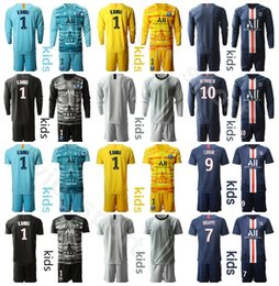 Soccer goalie jerSey online shopping - Youth Paris Germain Soccer Goalkeeper GK Keylor Navas Jersey SERGIO RICO AREOLA BULKA TRAPP Goalie Kids Football Shirt Kits