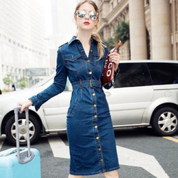 $enCountryForm.capitalKeyWord Australia - Autumn Women Casual Denim Dress Long Sleeve Slim Female Dresses Jeans Dresses Retro Sexy Jeans Ladies Dress Vestido 4xl MX190727