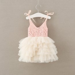 Red Dress V Neck Straps Australia - Summer new Fashion Flower Girl Dress pink ivory lace mesh Tulle Wedding Party Dress Princess strap tutu Dresses