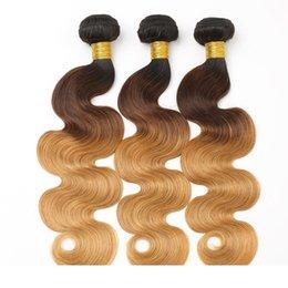 Wholesale 1B 4 27 Ombre Body Wave Bundles Brazilian Hair Weave Bundles Malaysian Body Wave Peruvian Hair Bundles 3 Pc Bag