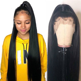 hair tied lady Australia - Long Straight 360 Lace Front Human Hair Wig 360 Lace Frontal Wig For Black Women 150% Density