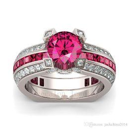 $enCountryForm.capitalKeyWord Australia - 2017 New Hot Sale Luxury Jewelry 925 Sterling Silver Red Ruby AAA CZ Diamond Gemstones Round Cut Wedding Women Bridal Ring Set Size 5-10