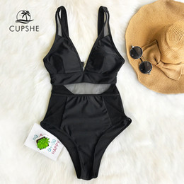 b81660c469 Black Slimming Swimwear Australia - Cupshe Sexy Black Mesh One-piece  Swimsuit Women Solid V