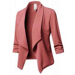 Wholesale Fashion Women Slim OL Casual Blazer Jacket Coat Work Office Lady Clothes Suit None Button Business Femal Blaze Coat