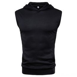 gym apparel UK - Men Running Wear Athletic & Outdoor Apparel Gyms Hoodies Gyms Fitness Bodybuilding Sweatshirt Fitness Mens Sleeveless Vests Cotton Muscle Si