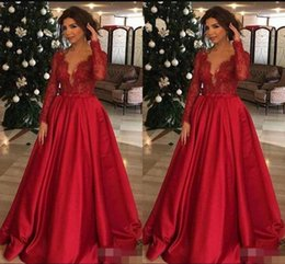 $enCountryForm.capitalKeyWord Australia - Red Mother Of The Bride Dresses Lace Top Long Sleeves For Weddings Women Party Formal Evening Gowns