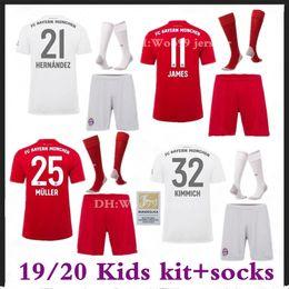 $enCountryForm.capitalKeyWord Australia - 19 20 Bayern Munich Kids kit+socks Away white Soccer jersey home red 19 20 maillots de football MULLER ROBBEN JAMES boy football shirt kit