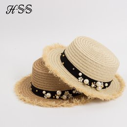 grey pearl sale UK - wholesale Hot Sale+Flat top straw hat Summer Spring women's trip caps leisure pearl beach sun hats M letter breathable fashion flower