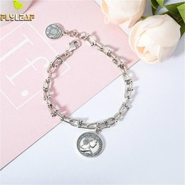 925 thick silver bracelet online shopping - Flyleaf Vintage Coin Real Sterling Silver Crude Thick Chain Bracelet For Women Fine Jewelry Bracelets Bangles High Quality