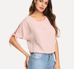 Pearl Blouses Shirts Australia - Pink Pearl Beads Knot Elegant Blouse Shirt Women Clothing 2019 Summer Workwear Split Sleeve Shirts Office Ladies Tops