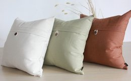 Pure Linen Pillowcases Australia - Simple One Button Cotton Linen Pillowcase Pure Office Sofa Cushion Cover High Quality Nordic Style Home decorative pillor throw 3colors