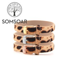 $enCountryForm.capitalKeyWord NZ - Somsoar Jewelry leopard print Genuine Real leather Wrap Bracelets fit Story Slide Charms accessories 5pcs lot