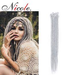 $enCountryForm.capitalKeyWord Australia - Nicole 20 Inch Synthetic Braiding Handmade Hip-hop Dreadlocks Hair Extensions Pink  Blue Ombre Crochet Hair 5 Strands Pack Free Shipping