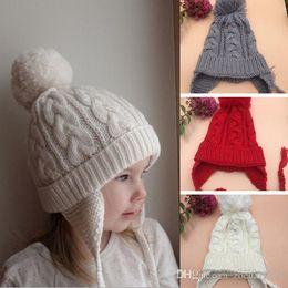 $enCountryForm.capitalKeyWord Australia - Lovely Toddlers Kids Girl Caps Infant Newborn Baby Autumn Winter Knitted earmuffs Warm Cap Beanie New Arrival Hot Sale Hats