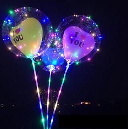 Stick chriStmaS balloonS online shopping - LED Flashing inch Bobo Balloons I Love You Balloon Night Lighting Bobo Ball With Stick Wedding Decoration Party Favor OOA5996